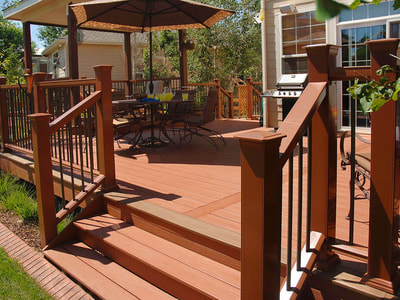 newly stained wooden deck