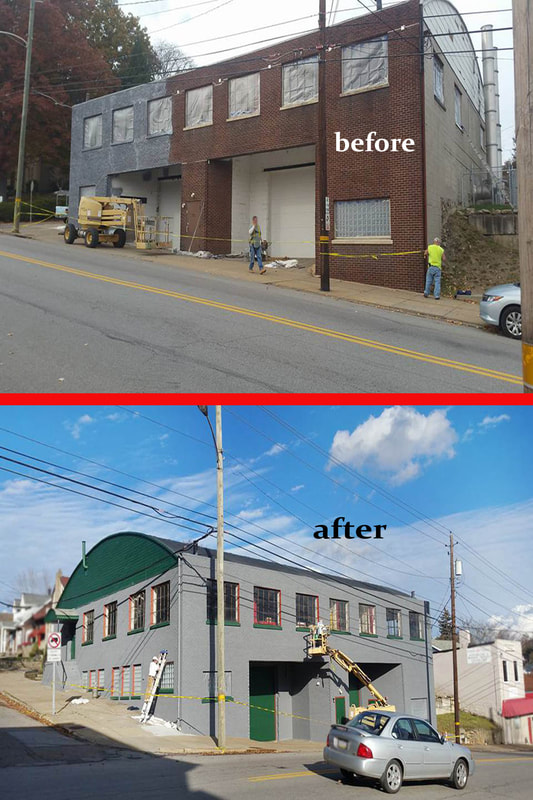 brick armory building repainted before after