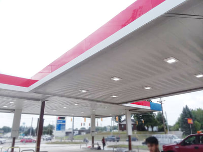 painted gas station canopy