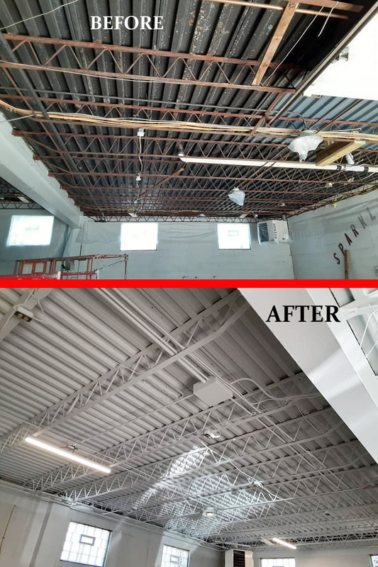 repaint steel trusses before after