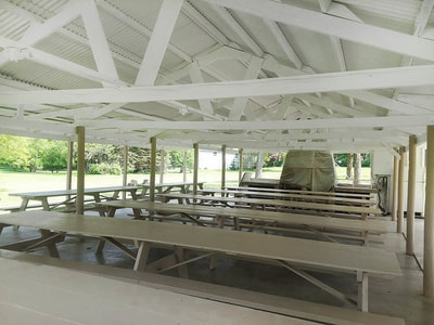 picnic shelter after new paint painted white
