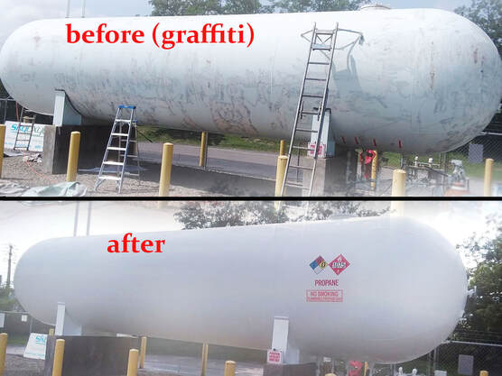 propane tank repainted before after